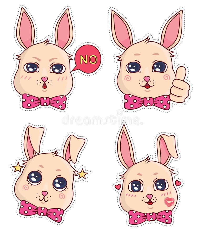 Cute banny badges and stickers. Part 3 royalty free stock photos