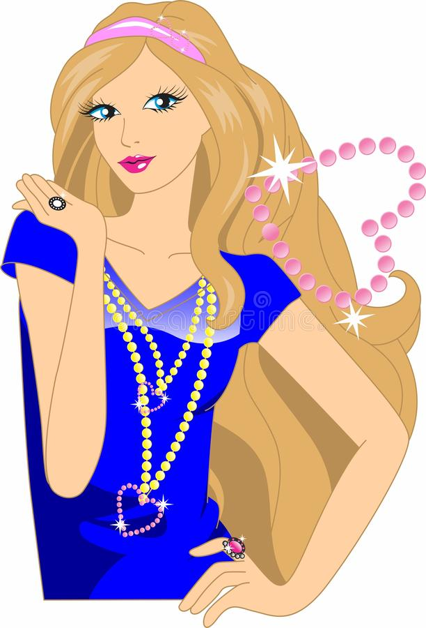 cute barbie girl cartoon stock photos