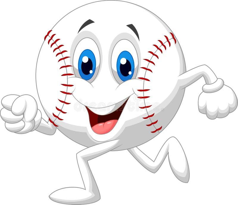 Cute baseball ball cartoon running stock photo