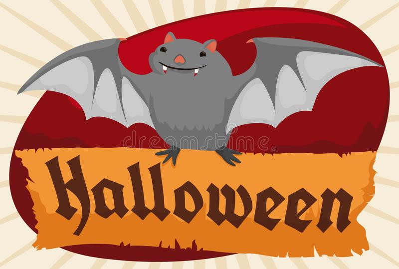Cute Bat Flying and Holding a Paper Scroll for Halloween, Vector Illustration stock illustration