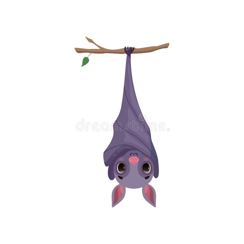 Cute bat hanging upside down on tree branch, funny creature cartoon character vector Illustration on a white background stock illustration