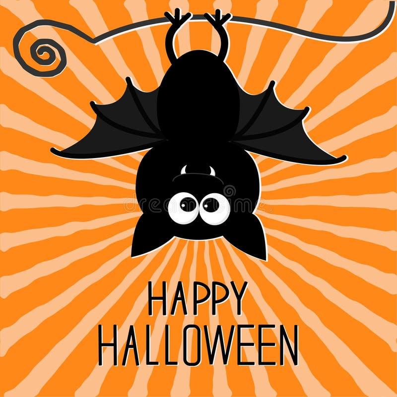 Cute Bat. Sunburst Background. Happy Halloween Card. Flat Design ...