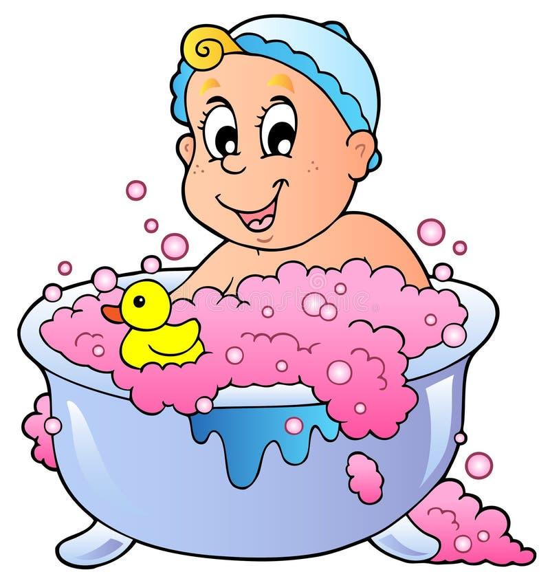 Cute bathing baby vector illustration