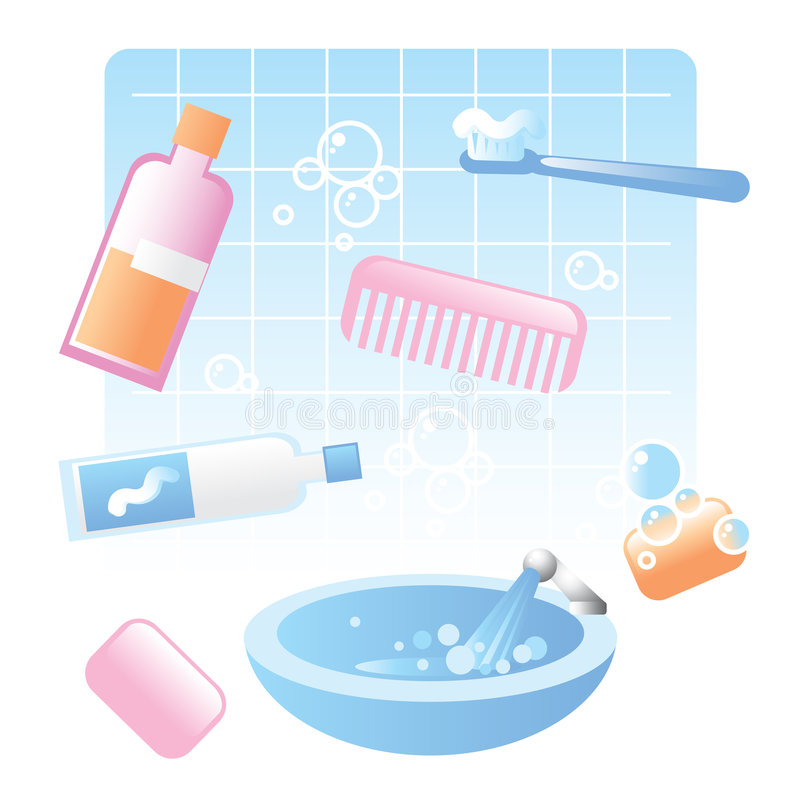 Download Cute Bathroom Items Stock Vector. Illustration Of Blue   7701887