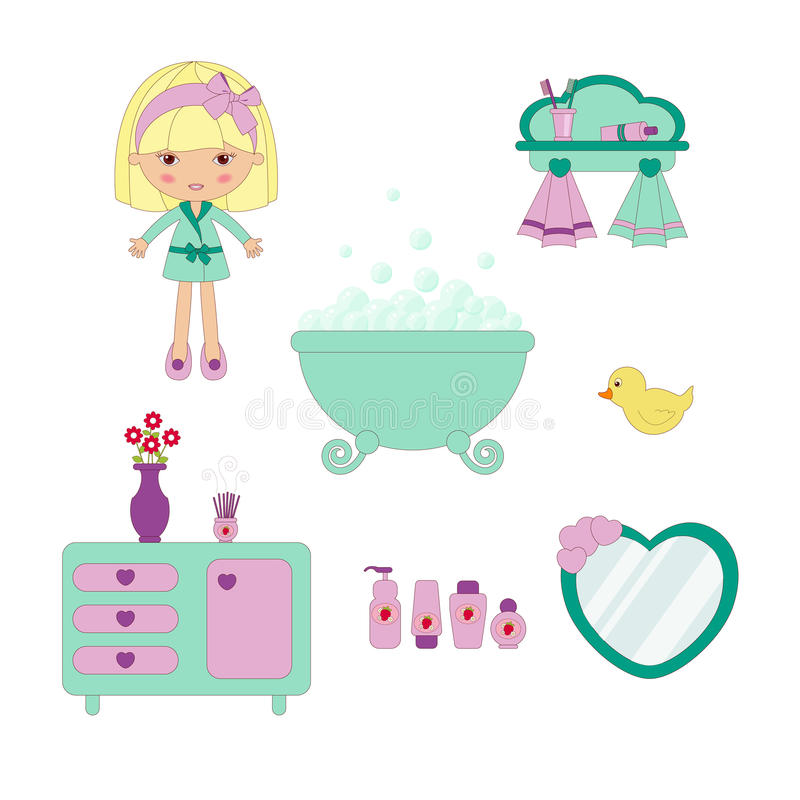Download Cute bathroom set stock vector. Image of aroma, heart - 24790523