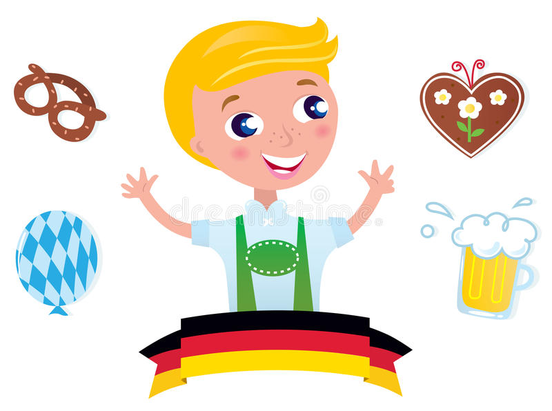 Cute bavarian male & icons stock illustration