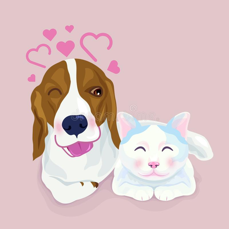 Cute beagle dog hug a cat, both express shy emotion stock illustration