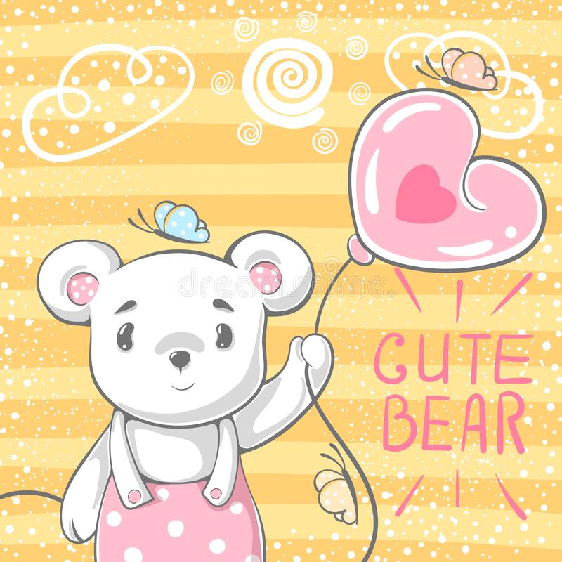 Cute bear with air balloon. royalty free illustration