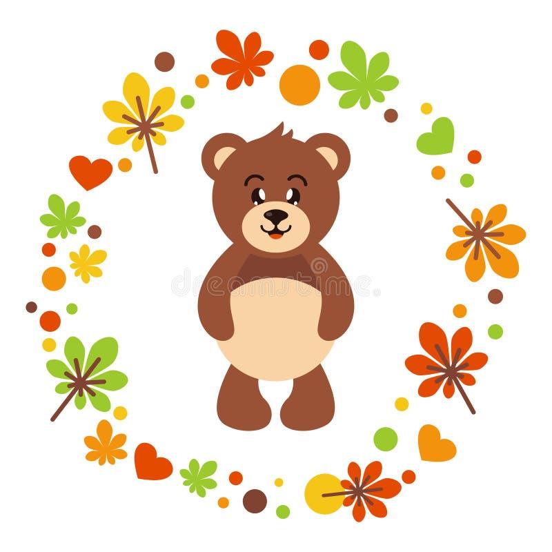Cute bear autumn royalty free illustration