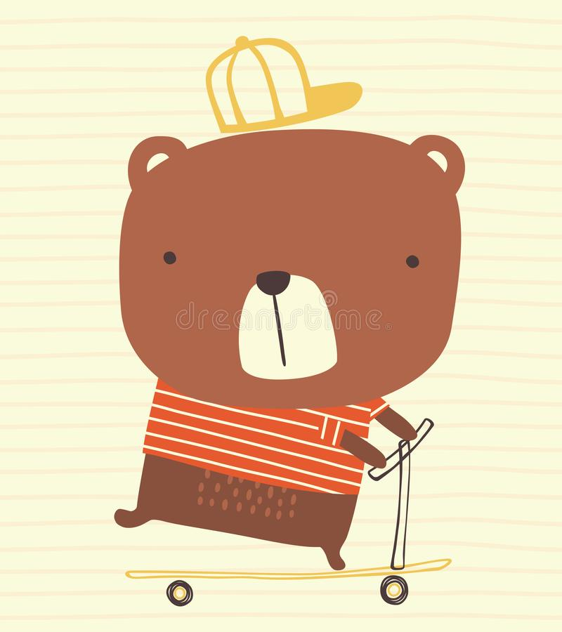 Cute bear with cap riding a kick scooter royalty free illustration