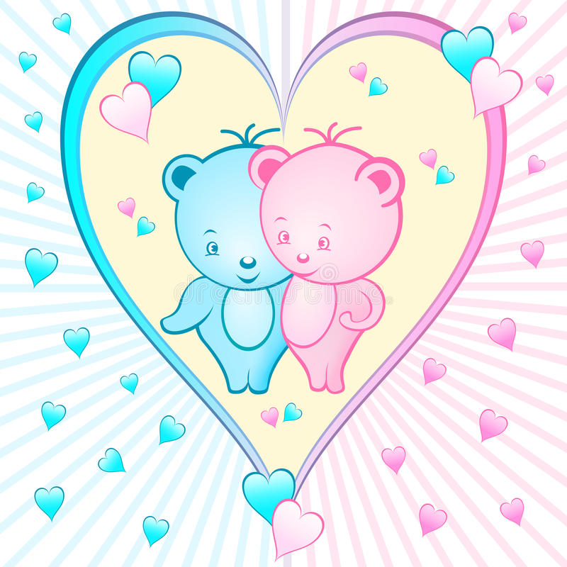 Download Cute Bear Cartoons In A Heart Stock Vector - Image: 14013518