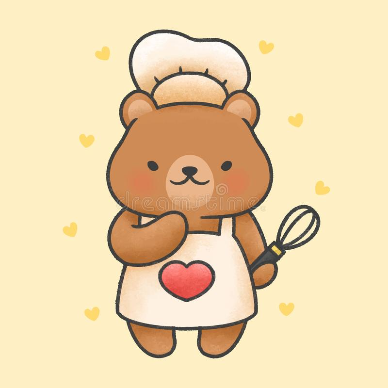 Cute bear cooking cartoon hand drawn style stock illustration