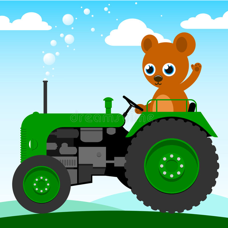 Small Tractor Cartoon : Cute bear driving an old tractor royalty free stock images