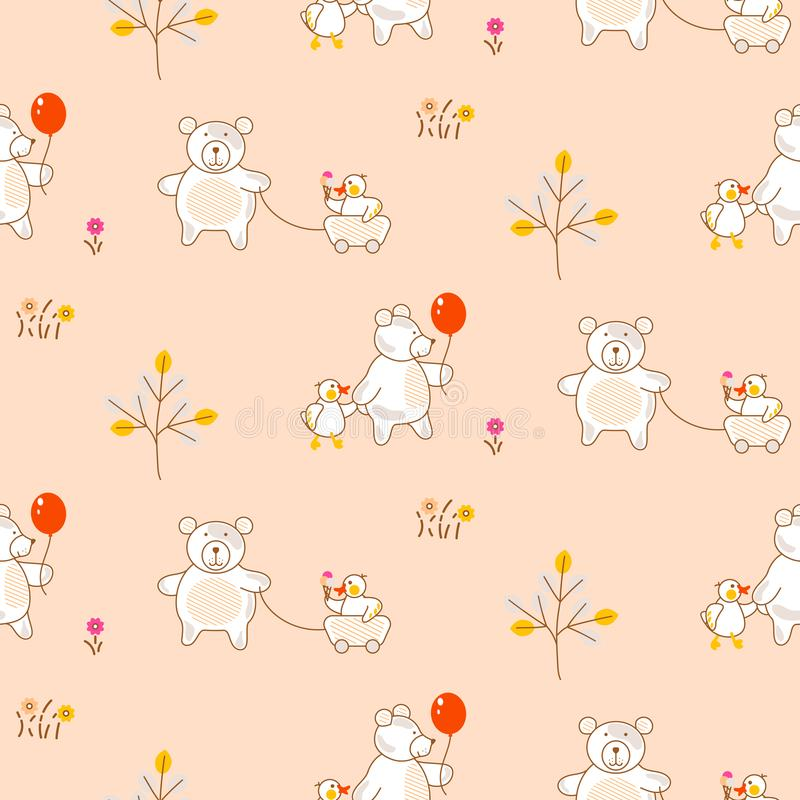 Cute bear and duck friends seamless vector pattern. Funny kid animal repeat background for fabric textile and wallpaper design stock illustration