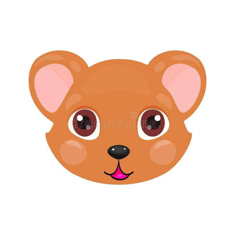 Cute bear face or mask isolated on white background. Cartoon brown Teddy bear cub with bright eyes, smiling and kind. stock illustration
