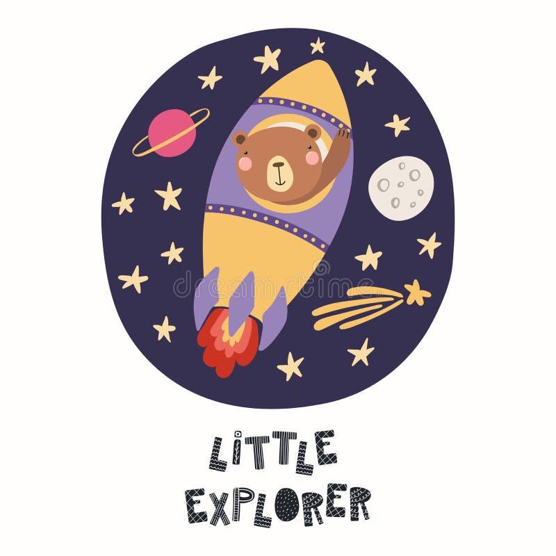 Cute bear flying a rocket vector illustration