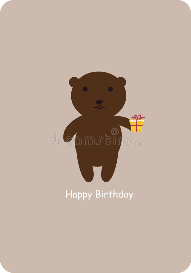 Cute bear with gift box. Happy birthday vector illustration