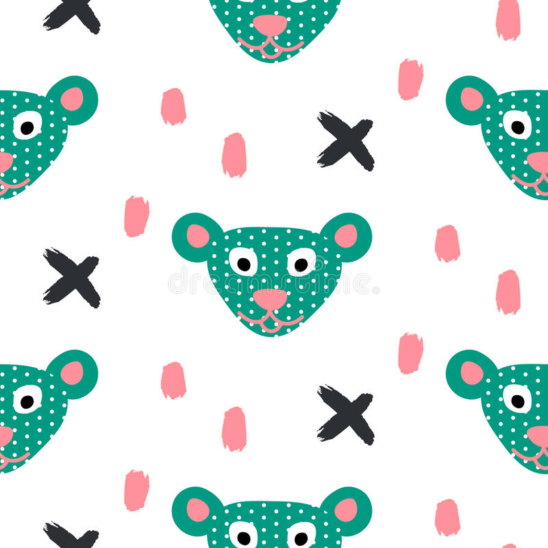 Cute bear green fun seamless pattern for kids and babies. Cuet bear stylized green fun seamless pattern for kids and babies. Toy plush animal fabric design for stock illustration