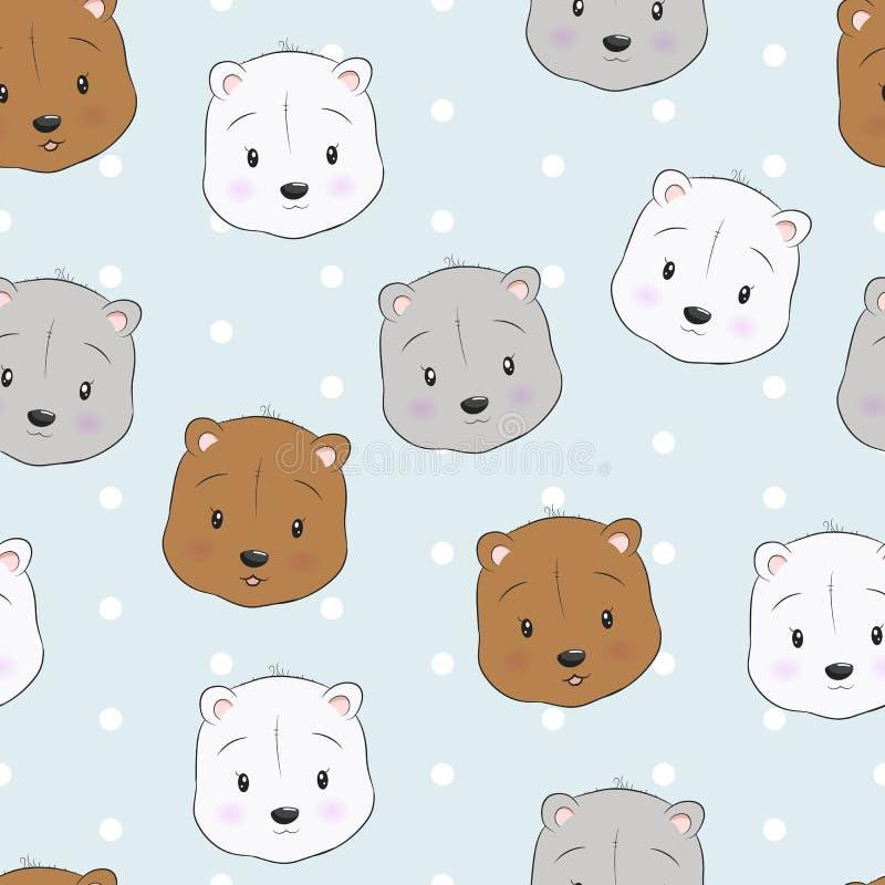 Cute bear head seamless pattern vector illustration