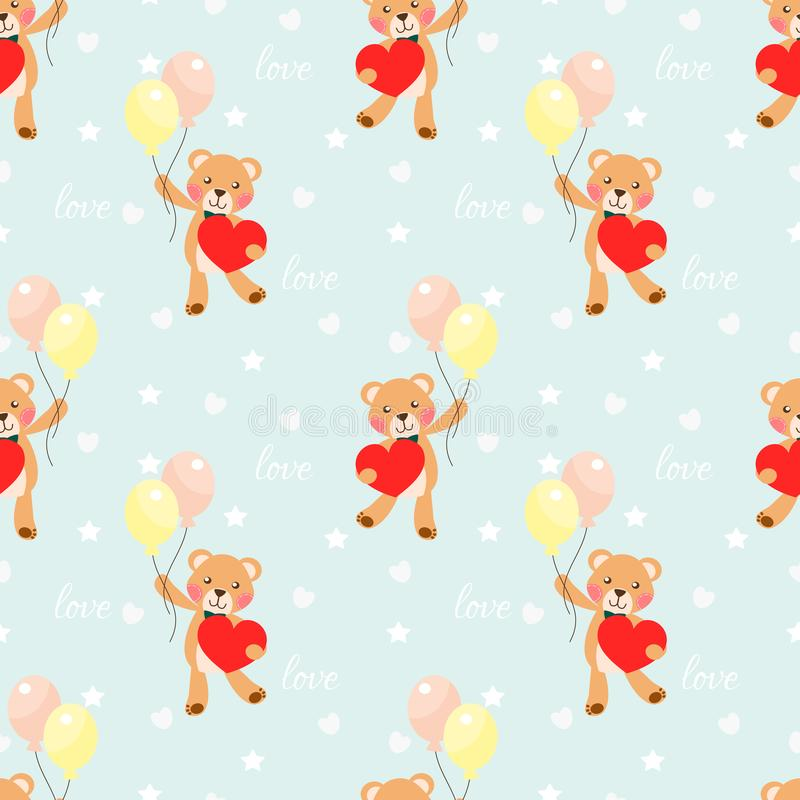 Cute bear hold a big heart seamless pattern stock illustration