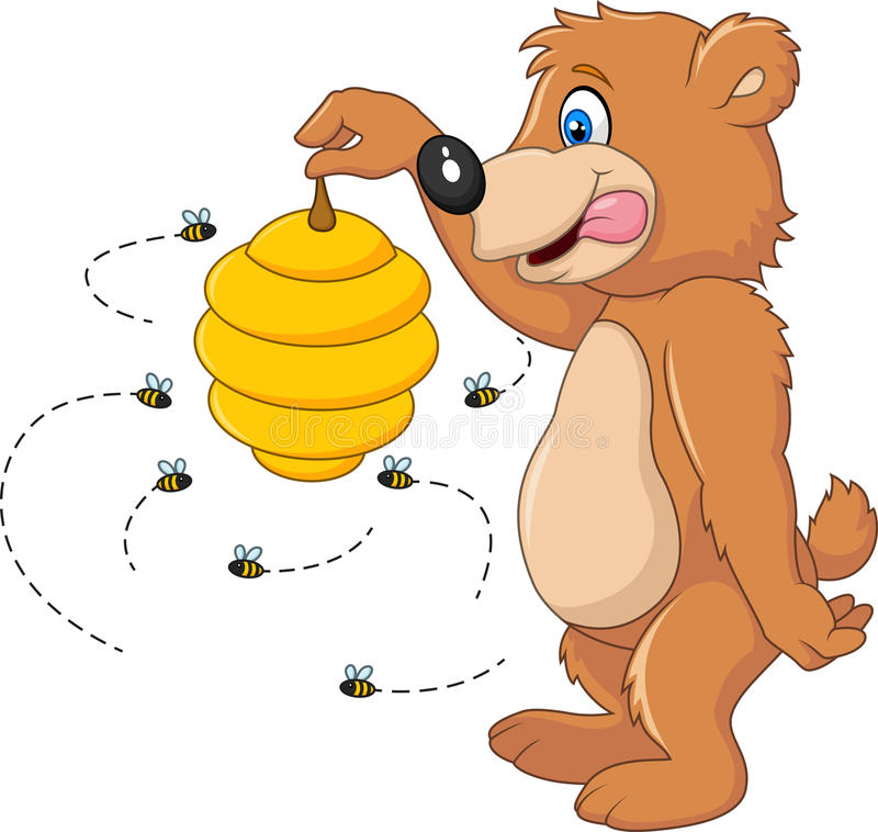 Free Cute Bear Holding Bee Hive Stock Image - 61673501