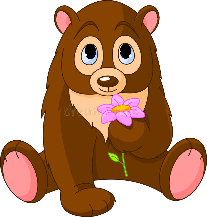 Cute Bear holding flower vector illustration