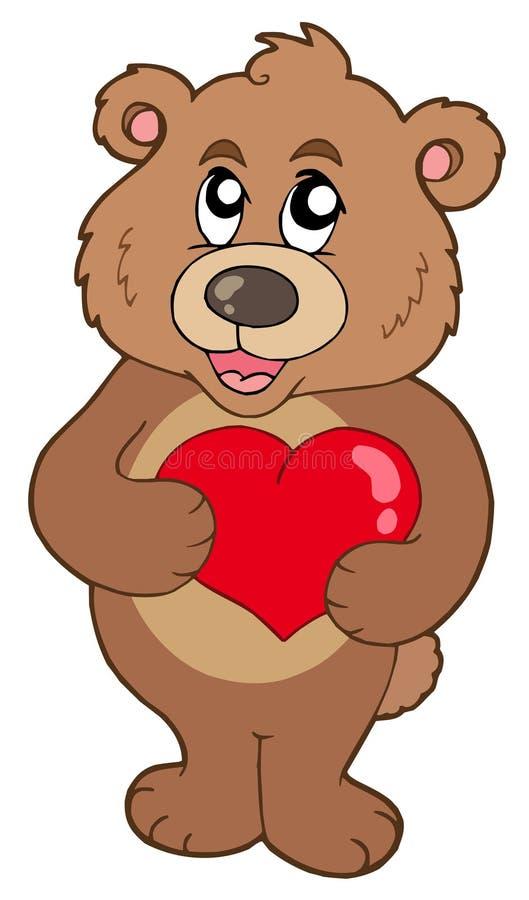 Cute bear holding heart stock photos