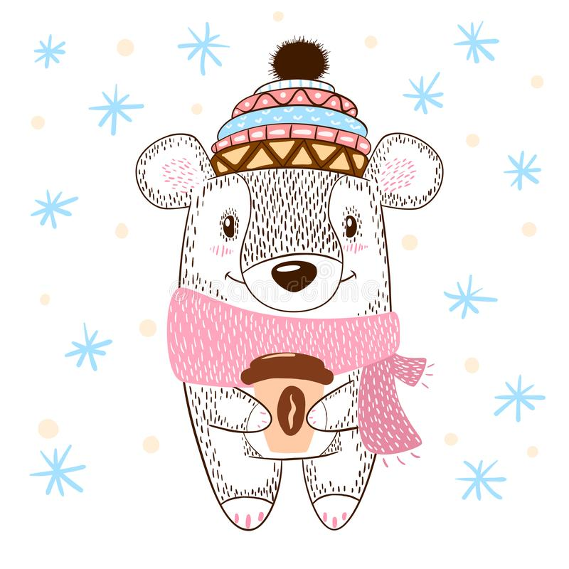 Cute bear huge hugs illustration. Winter, tea and coffee. royalty free illustration