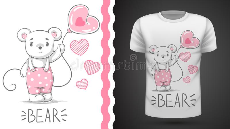 Cute bear - idea for print t-shirt. royalty free illustration