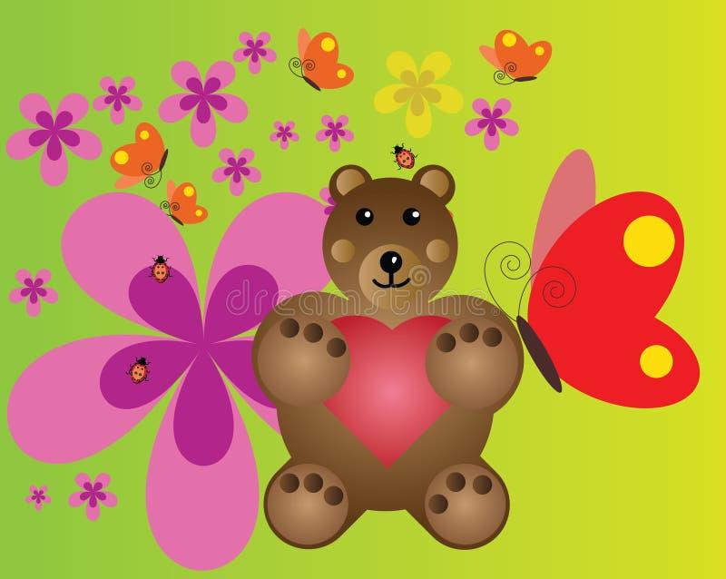 Download Cute bear stock illustration. Illustration of flowers - 32957724