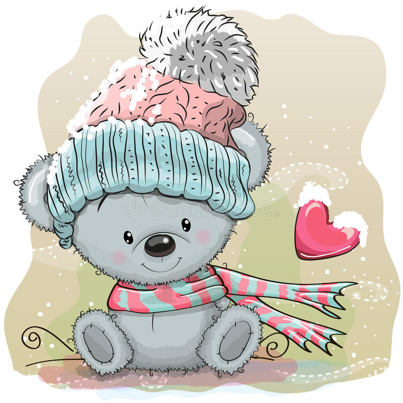 Free Cute Bear In A Knitted Cap Royalty Free Stock Photos - 79366158