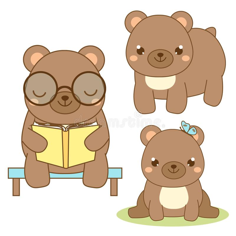 Cute bear. Kawaii style. Brown bear sitting and reading book. Cartoon animal character for kids, toddlers and babies fashion. Vector design elements vector illustration