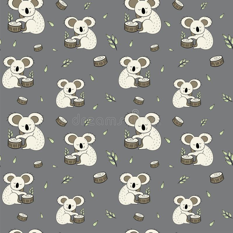 Cute bear koala doodle seamless pattern. Vector background with koalas can be used for baby textile, tshirt, wallpapers, posters a stock illustration