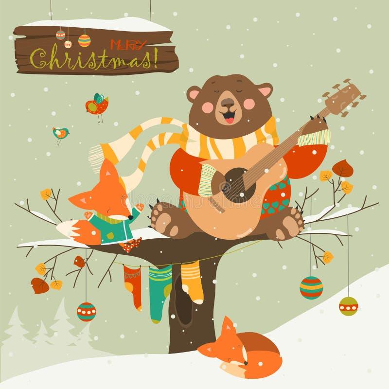 Cute bear and little fox celebrating Christmas vector illustration