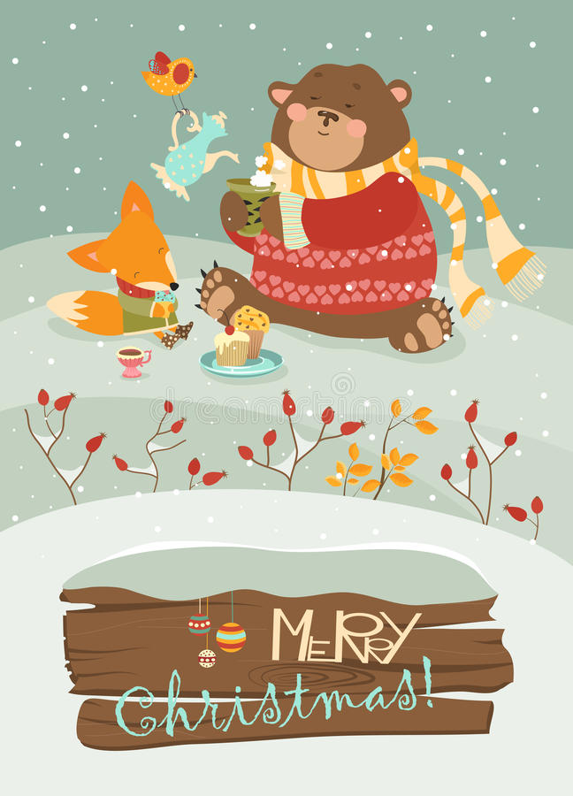 Cute bear and little fox celebrating Christmas. Vector greeting card royalty free illustration