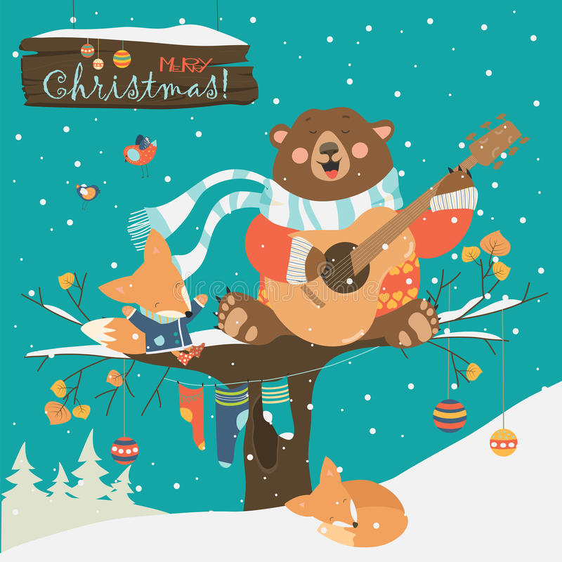 Cute bear and little fox celebrating Christmas. Vector greeting card vector illustration
