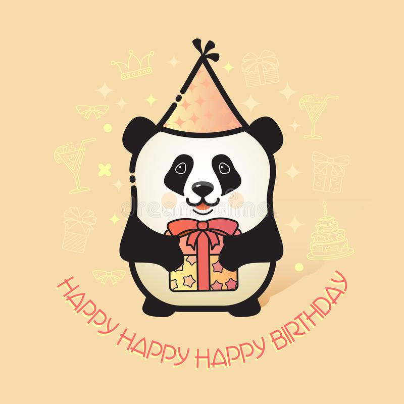 Cute bear panda holds a gift. Happy Birthday card. stock illustration