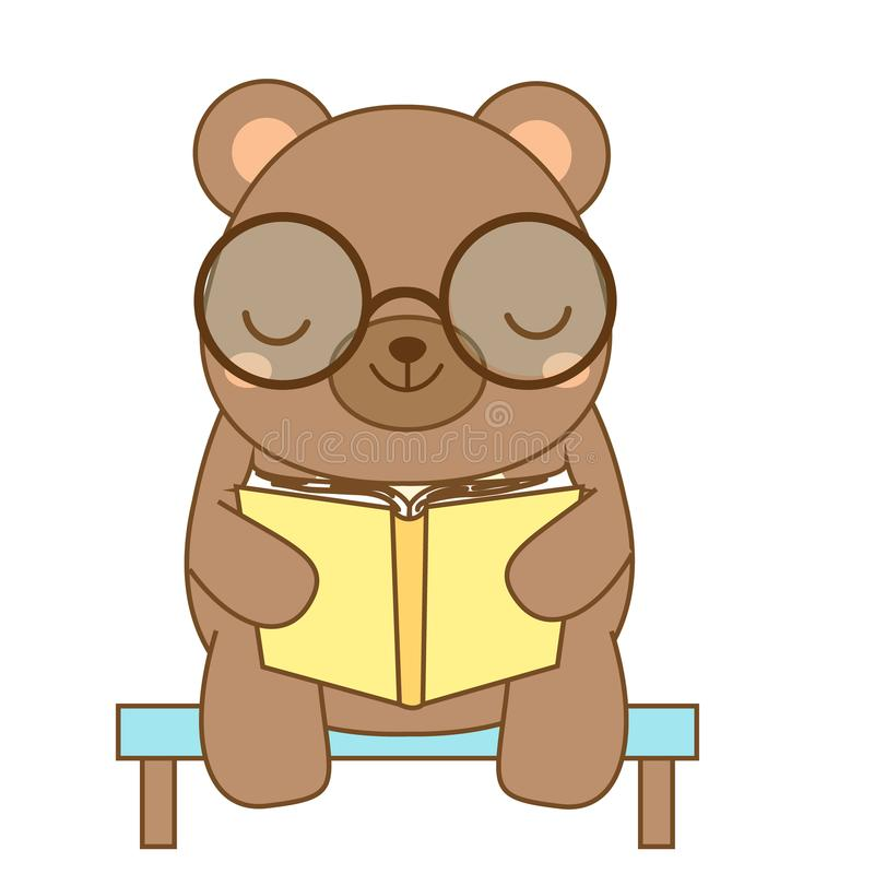 Cute bear reading book. Cartoon animal character for kids, toddlers and babies fashion. ? Vector illustration vector illustration