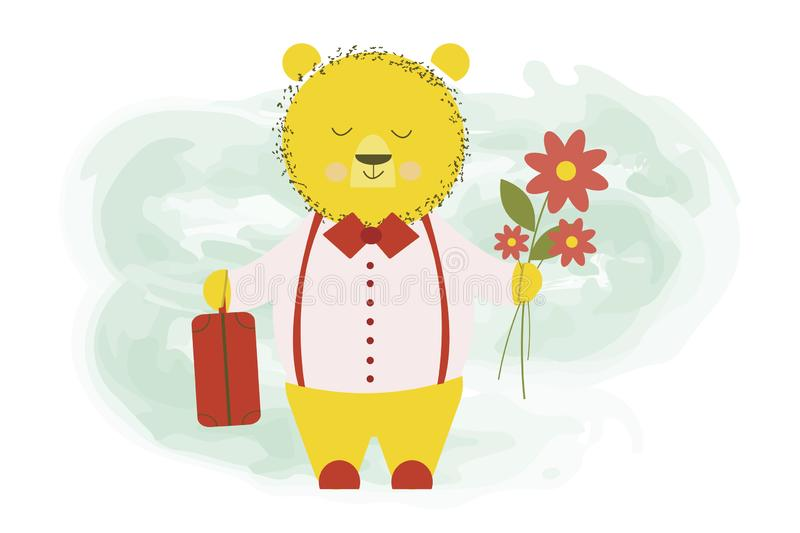 Cute bear returned from a trip with a baggage suitcase and flowers - vector cartoon illustration, character design stock illustration
