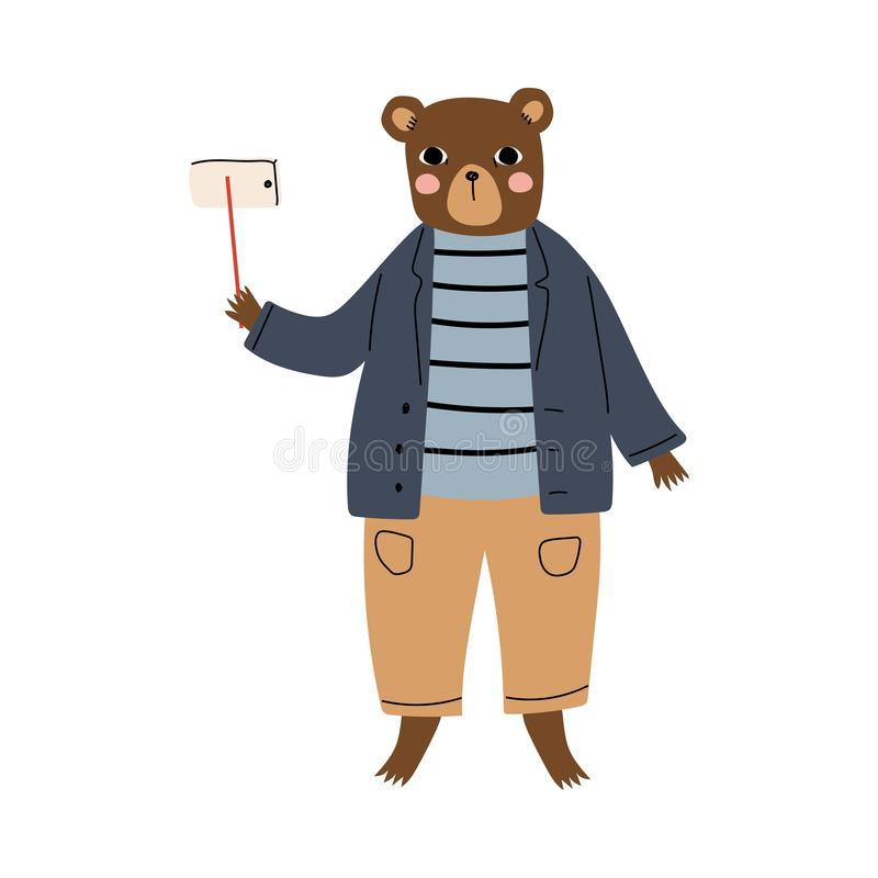 Cute Bear Tourist Making Selfie with Smartphone, Funny Humanized Animal Cartoon Character on Vacation Vector. Illustration on White Background stock illustration