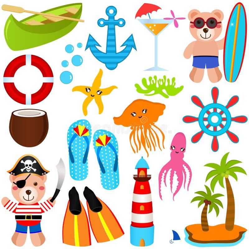 Download Cute Bear Vector Icons : Summer Theme Stock Vector - Illustration of slipper, summer: 22324462