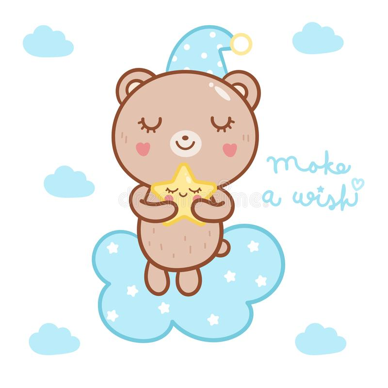 Cute bear vector kawaii cartoon on cloud with star, Nursery decoration vector illustration