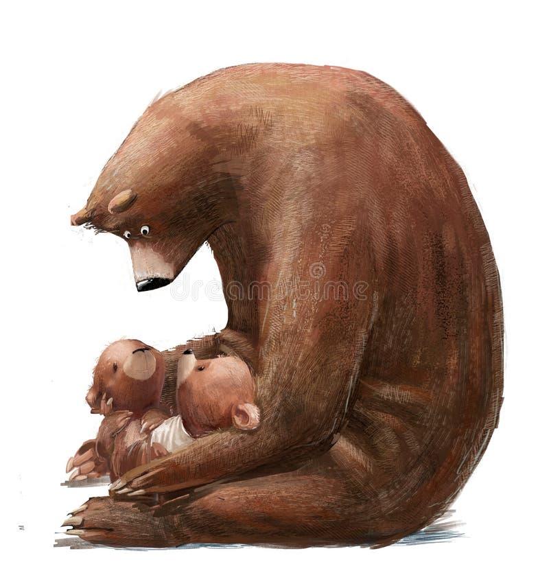 Free Cute Bear With Two Little Teddy Bears Stock Photos - 202091433