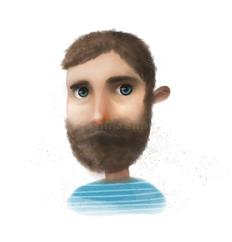Cute bearded man stock illustration