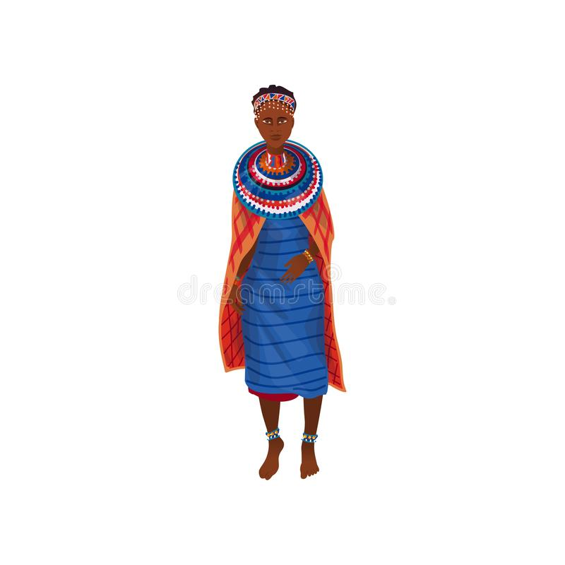 Cute beautiful african aborigine woman in textile colorful clothes. Cute beautiful african aborigine woman in textile colorful blue clothes. Cartoon style royalty free illustration