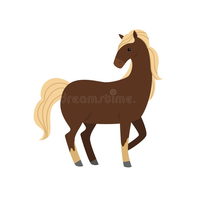Cute and beautiful brown horse with white hair, long leg. Village farm. Flat style. Vector illustration on white background royalty free illustration