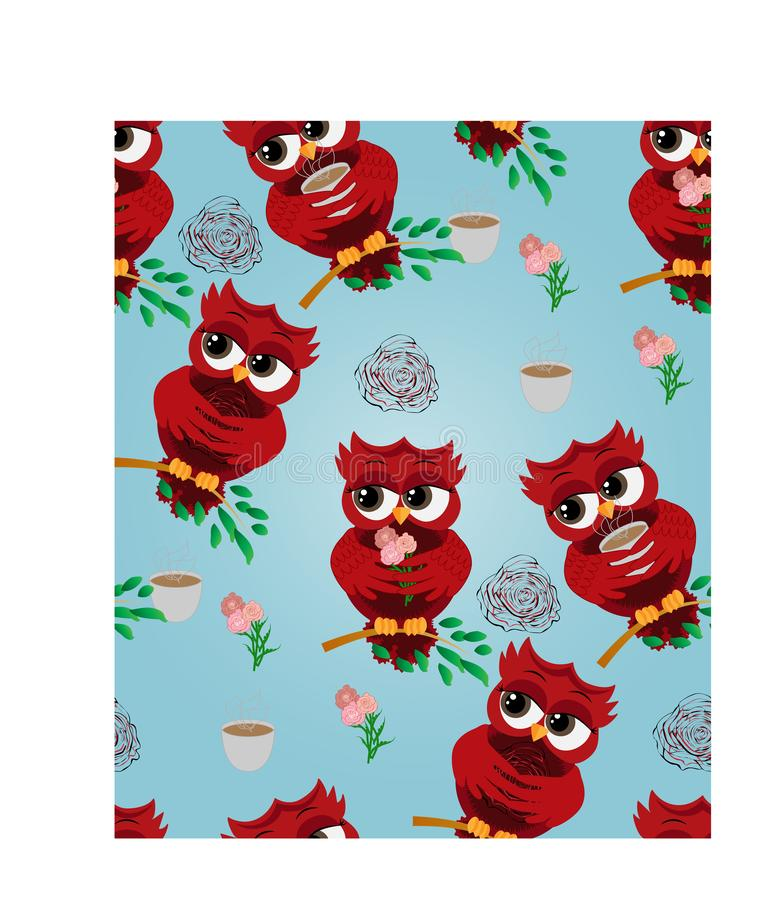 Cute beautiful flirtatious red owl on a branch with a cup of steaming coffee, tea or chocolate. Seamless pattern Cute beautiful flirtatious red owl on a branch vector illustration