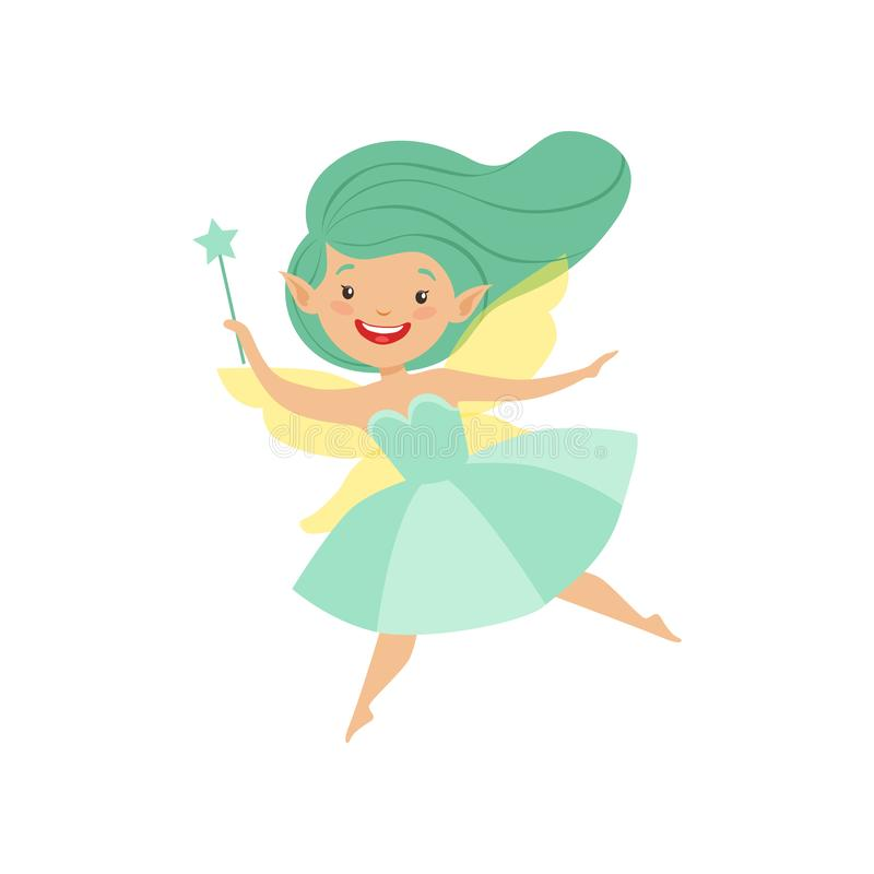 Cute beautiful little winged fairy, lovely girl with long hair and dress in turquoise colors vector Illustration on a vector illustration