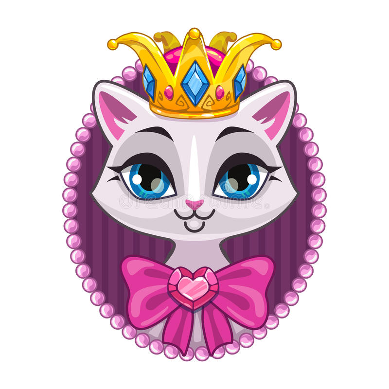 Cute beautiful princess kitty portrait. Vector template for teenagers t shirt design with beautiful white cat girl, sweet girlish illustration, isolated on vector illustration