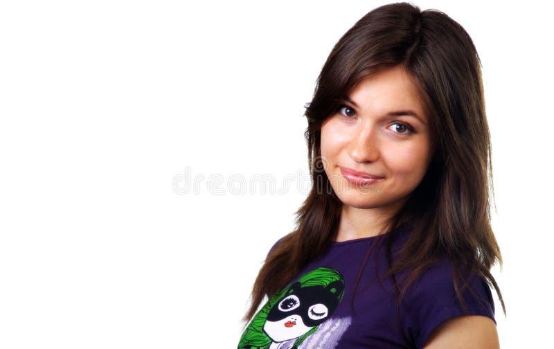 Cute beautiful teen female isolated on white stock photos